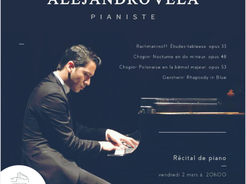 Concert Alejandro Vela, Pianiste, 2 mars 2018