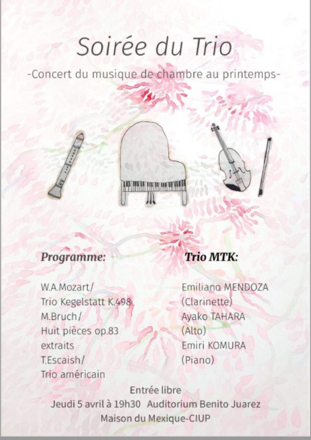 Soiree Trio - 5 avril