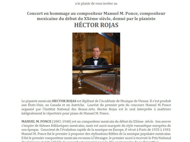 Concert en hommage à Manuel M. Ponce par le pianiste Héctor Rojas, mardi 25 septembre – 19h30
