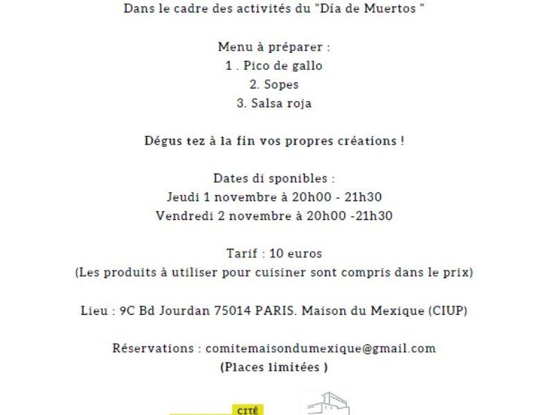 Atelier de Cuisine mexicaine, 1 et 2 novembre – 20h –