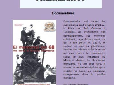 Cycle de Cinéma Mexico 68 – Mémorial del 68 -17 octobre 2018 – 20h