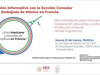 Reunión Informativa con la Sección Consular de la Embajada de México en Francia- jeudi 21 mars – 19h