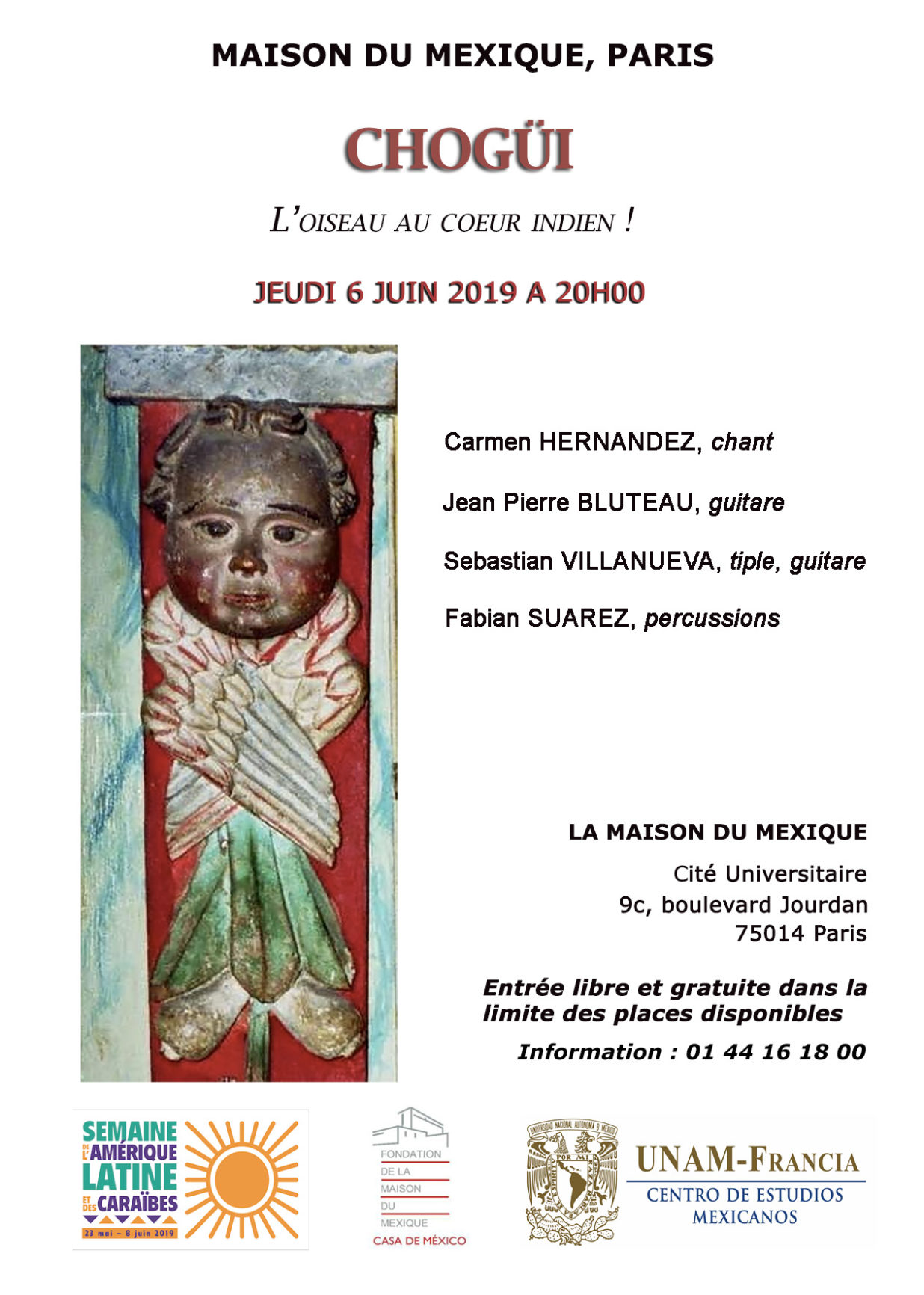 """Concert """"le Sud sur mon épaule"""" par Carmen Hrenandez, Alfonso Pacin, Hector """"Tachi"""" Gomez; mise en scène Isabelle Thomas"""